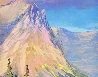 "View from Logan Pass (1) - palette knife oil painting on 4""x6"", 3/4"" thick canvas Glacier National Park"