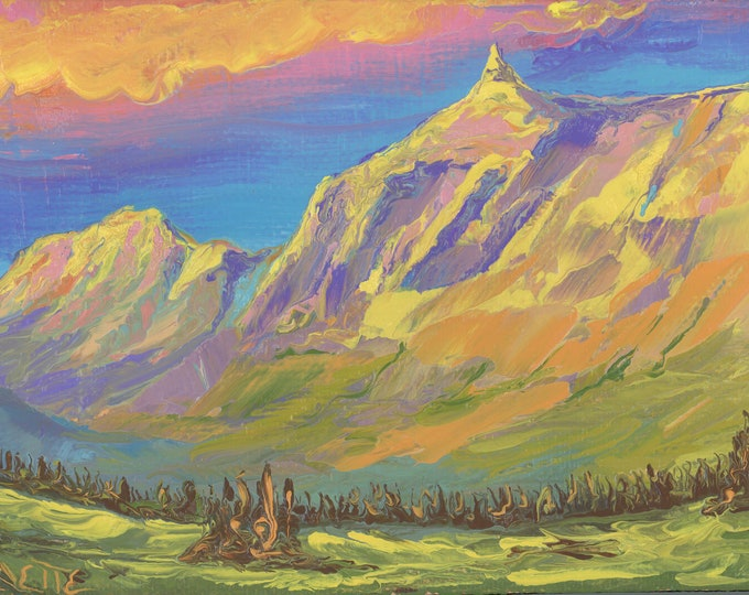 """Garden Wall from Logan Pass (3) - palette knife oil painting on 4""""x6"""", 3/4"""" thick canvas Glacier National Park"""