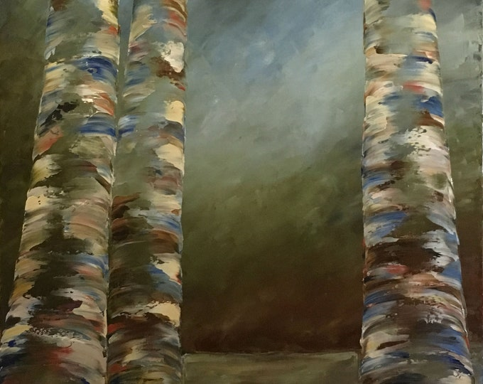 "Stormy Skies and Aspen original oil painting 24""x48"" on canvas by RAETTE, trees with thick texture, apen, ethereal"