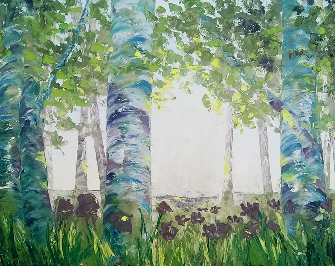 """Aspens and Blooms original oil painting 24""""x36"""" on canvas by RAETTE, trees with thick texture, apen, ethereal, fantasy"""