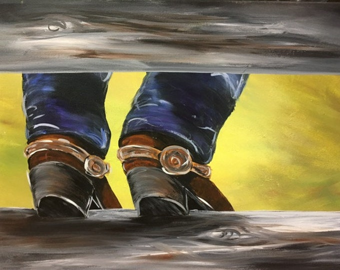 "Cowboy Up, western, denim, boots, Montana, cowboy original acrylic painting by RAEME 16""x20"" canvas"