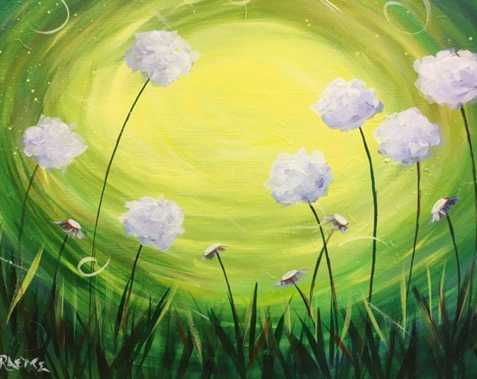 "Dandelion Frenzy, colorful fun whimsical flowers, green, yellow original acrylic painting by RAEME 16""x20"" canvas"