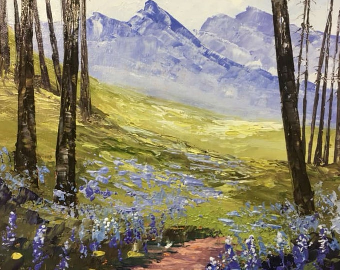 Lupine on Lincoln Lake Trail original oil painting on canvas, framed, thick texture Glacier National Park, Montana Artist Raette