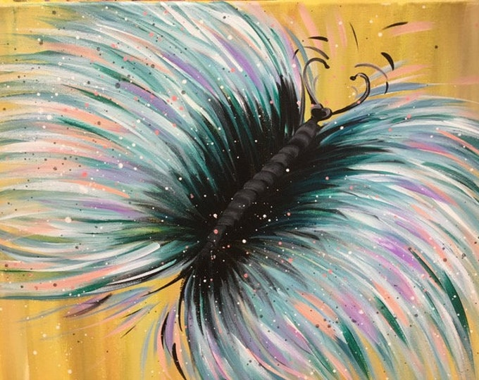 "Butterfly, teal, pink, gold, purple original acrylic painting by RAEME 16""x20"" canvas"