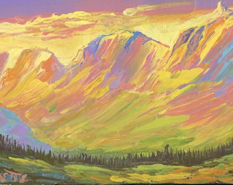 "Garden Wall from Logan Pass (2) - palette knife oil painting on 4""x6"", 3/4"" thick canvas Glacier National Park"