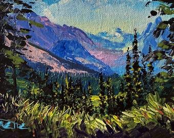 Logan Pass from the Highline, Glacier National Park 4x6 original palette knife oil painting, Montana artist Raette