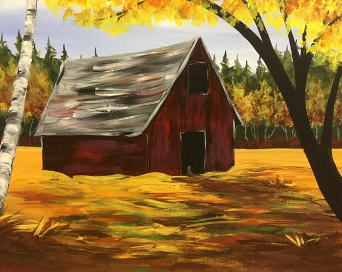 "Fall Barn, birch trees, red, gold, country, Montana original acrylic painting by RAEME 16""x20"" canvas"
