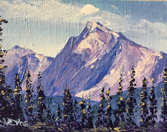 Heaven's Peak, 4x6 original palette knife oil painting, Montana artist Raette
