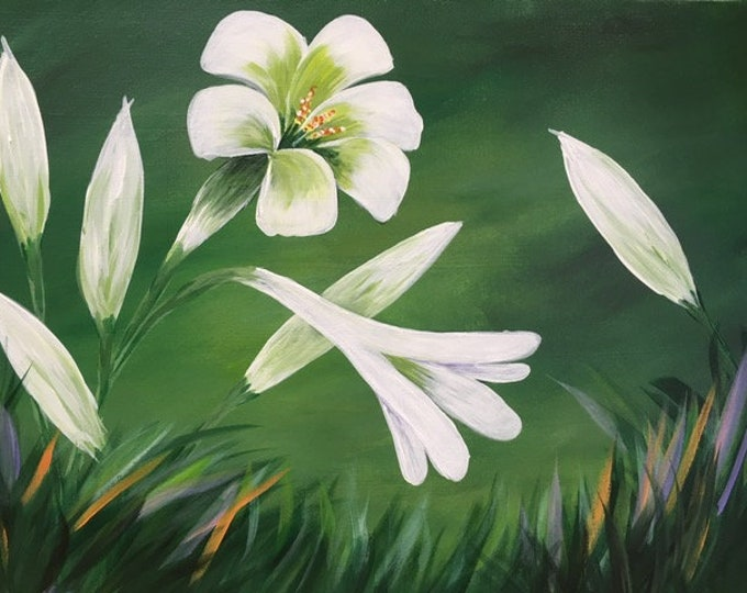"Easter Lilies, white flowers, spring, original acrylic painting by RAEME 16""x20"" canvas"