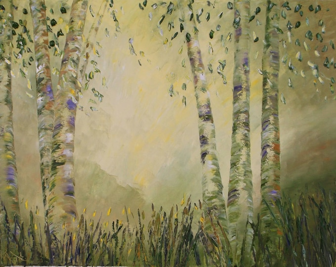 "Aspen Dreams original oil painting 24""x36"" on canvas by RAETTE, trees with thick texture, apen, ethereal, fantasy"