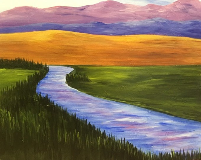 "Madison River, Montana, NW Montana, river, mountains original acrylic painting by RAEME 16""x20"" canvas"