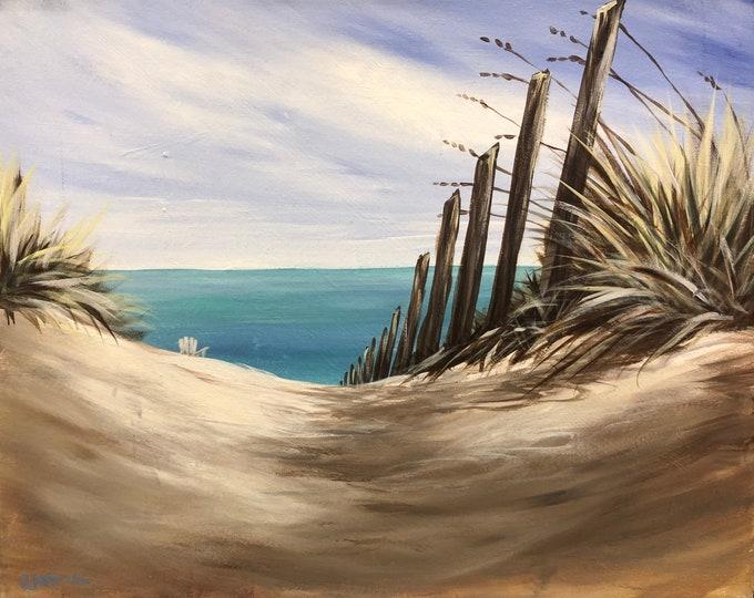"Beach Grasses, sand dunes, ocean, sea, original acrylic painting by RAEME 16""x20"" canvas"