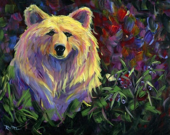 "Huckleberry Bear, 16""x20"" print on canvas"