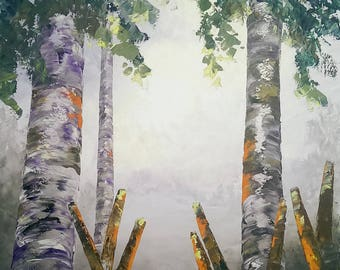 "Aspens and Cattails original oil painting on canvas by RAETTE, oil painting 24""x36"", palette knife thick texture"