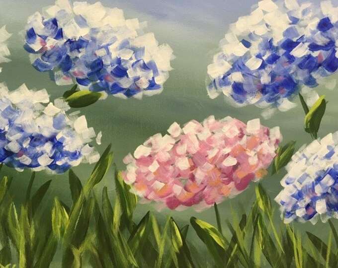 "Hydrangeas, flowers, purple, blue, summer, grasses original acrylic painting by RAEME 16""x20"" canvas"