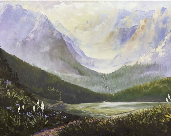 Glimpse - original painting and prints available, Glacier National Park inspired, Montana Artist Raette