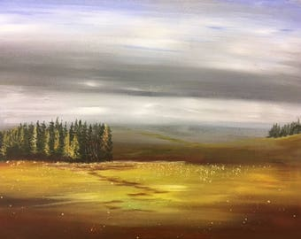 "Stormy Skies and Fall #10/365 calming peaceful original landscape 16""x20"" canvas painting by Raette"