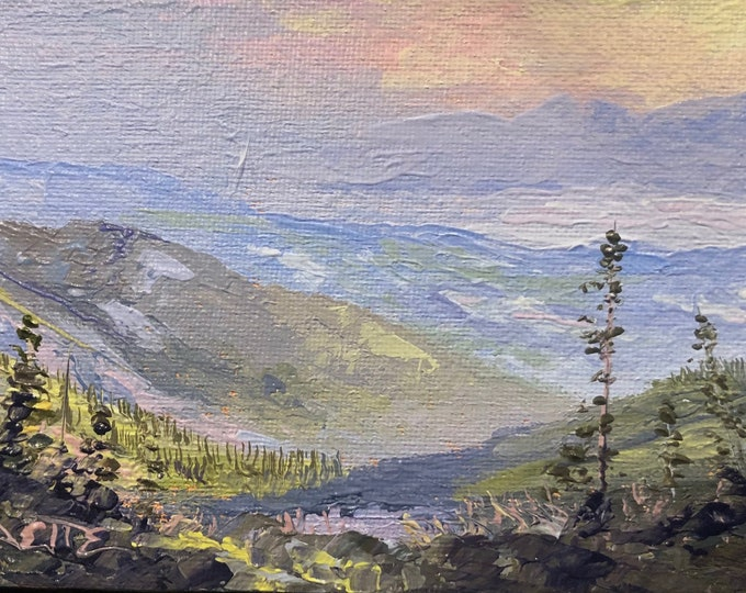 View from Mt Aneas Peak at Sunset 4x6 original palette knife oil painting, Montana artist Raette