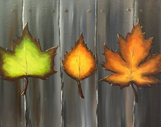 "Autumn Leaves, fall colors original acrylic painting by RAEME 16""x20"" canvas"
