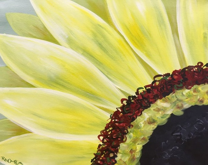 """Sunflower, happy, vibrant, summer, spring yellow, colorful original acrylic painting by RAEME 16""""x20"""" canvas"""