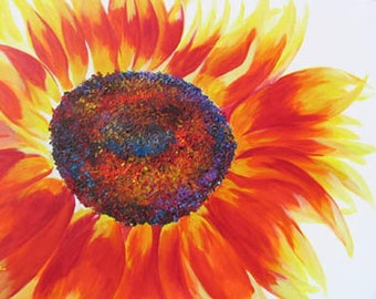"""Sunflower, Alive! original acrylic painting 24""""x36"""" on canvas by RAETTE, happy flower"""