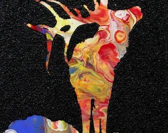 Elk, red, yellow, blue, texture, mixed media, wildlife, 8x10 original painting Raette