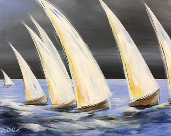 "Sailing Days, sail boats, boating, original acrylic painting by RAEME 16""x20"" canvas"