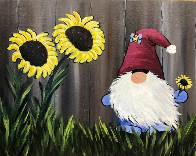 Sunflower Gnome, Cute Gnome Art, Summer, seasonal art by RAEME, original acrylic painting