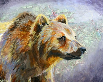 Kootenai Grizzly print on canvas