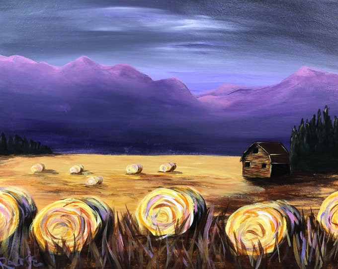 """Hay Bales, old barn, alpen glow on mountains, sunset summer/fall original acrylic painting by RAEME 16""""x20"""" canvas"""