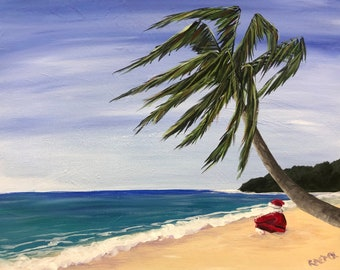 "Beach Santa, ocean, sea, santa, christmas, original acrylic painting by RAEME 16""x20"" canvas"