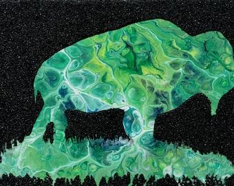 Buffalo, Bison, green, blue, texture, mixed media, wildlife, 9x12 original painting Raette