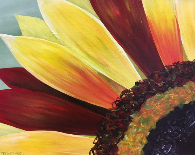 """Variegated Sunflower, yellow, red, colorful original acrylic painting by RAEME 16""""x20"""" canvas"""