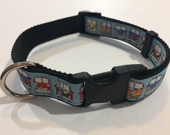 9a97cfd516 Blue with Hippie Retro Vans or Buses Adjustable Dog Collar