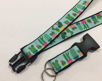 1 wide Handmade Cactus or Succulents Lanyard with Removable Key Chain End