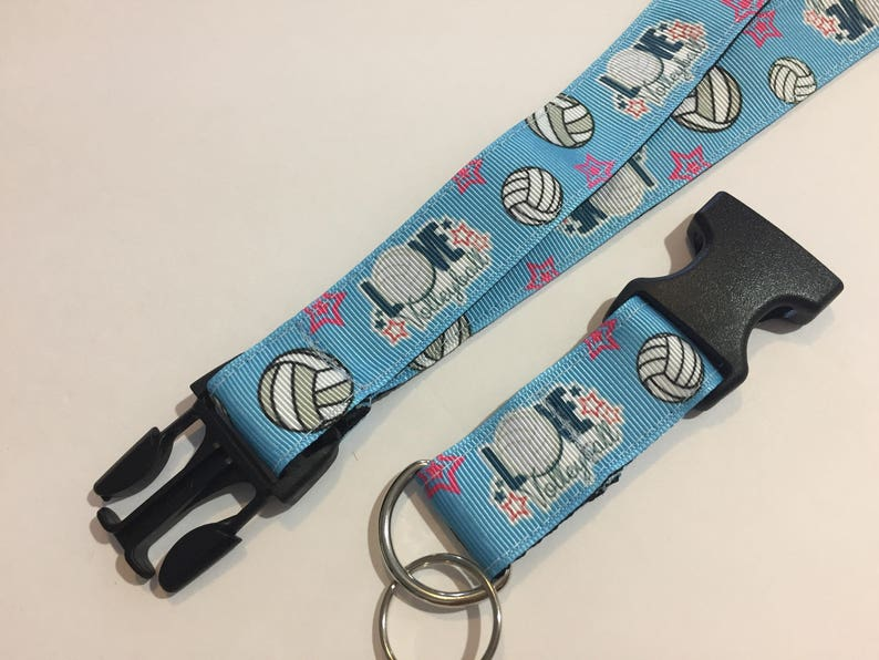 Handmade I Love Volleyball Keychain Lanyard with removable key chain end 1 wide