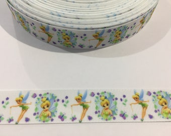 """3 Yards of 7/8"""" Ribbon - White Tinker Bell with Purple Flowers"""