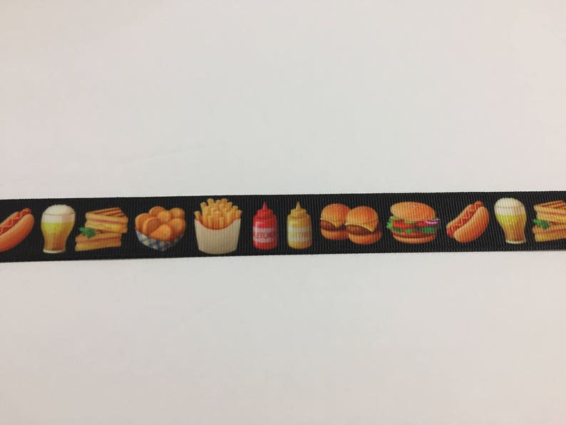 Fast Food French Fries and Hamburgers Hotdogs #10585 3 Yards of 78 Ribbon