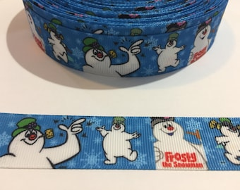"""3 Yards of 1"""" Ribbon - Blue and White Frosty the Snowman"""