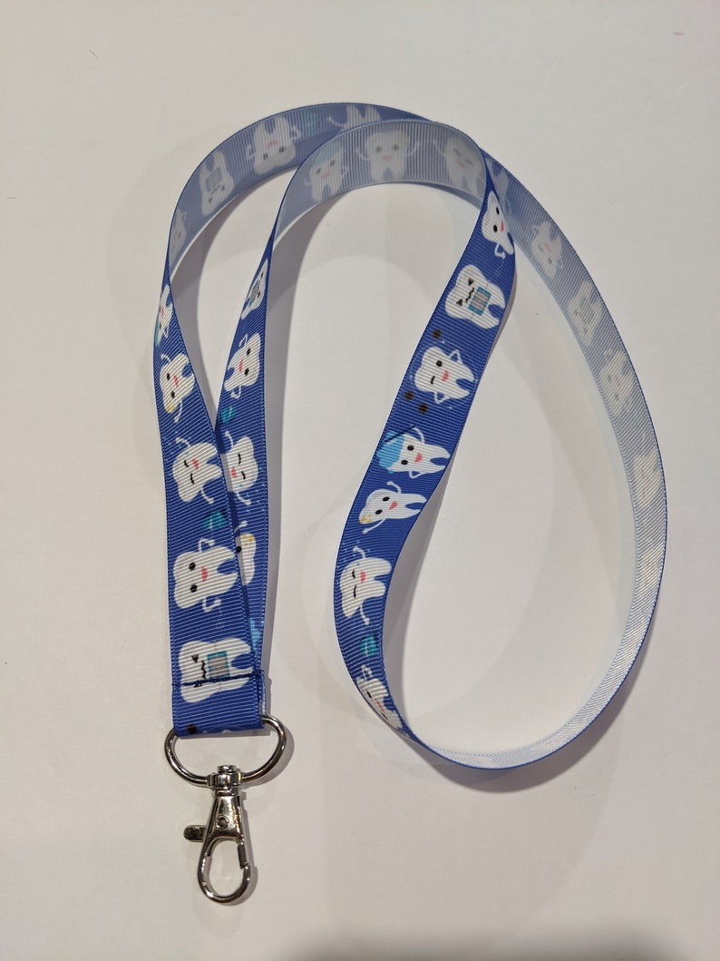Dentist Cavity Tooth Brush Your Teeth Handmade 1 Wide ID Lanyard with a Lobster Claw Clasp