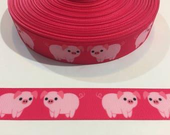 "3 Yards of 7/8"" Ribbon - Cute Pink Pigs"