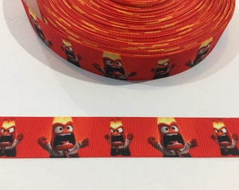 "3 Yards of 7/8"" Ribbon - Inside Out Anger"