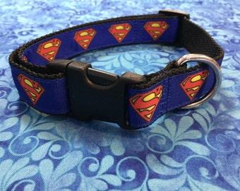 Superman Adjustable Dog Collar