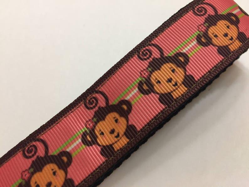 Handmade Adorable Monkeys on Pink Key Fob Keychain wristlet