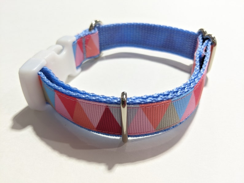 Pink Triangles with Blue Handmade 34 Wide Adjustable Dog Collar