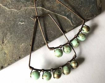 Czech Glass and Brass Earrings
