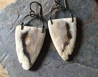 Indonesian Fossil Coral and Aged Brass Earrings