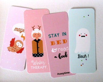 Lot of 4 bookmarks/bookmarks Owl/ Stay in bed/ Ghost/ Kokeshi reindeer / funny and girly bookmarks