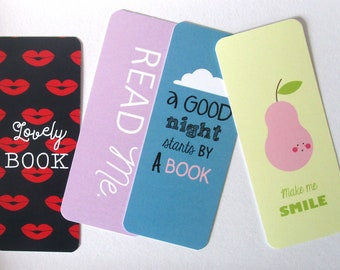 Lot of 4 bookmarks/brand-pages Pear/ Read me/ A good night/ Mouth / funny and girly bookmarks