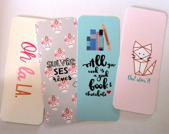 Lot of 4 bookmarks/bookmarks oh/ all you need/ Unicorn/ Chat then